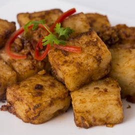 PAN FRIED TURNIP CAKE WITH XO SAUCE